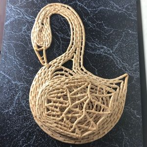 Vintage basket swan pot holder